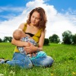 Baby breastfeeding — Stock Photo