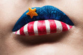 macro 4th july lips — Foto de Stock