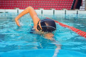 Professional swimmer on training — Stock Photo