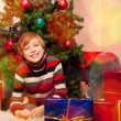 Cute little boy in New Year Eve — Stockfoto