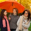 Friends not afraid of nasty weather — Stock Photo