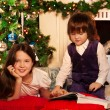 Stock Photo: Two kids reading Christmas book