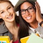 Two happy students — Stock Photo
