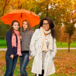 Students walking in autumn park — Stock Photo