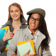 Stock Photo: Happy students with books