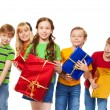 Foto Stock: Cute kids with wrapped boxes
