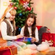 Friends giving presents each other — Stok fotoğraf