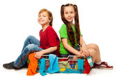 Two kids in clothing basket — Stock Photo