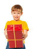 Surprised boy with wrapped box — Stock Photo