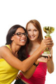 Two happy winners with prize — Stock Photo