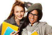 Cute college students smiling at camera — Foto Stock
