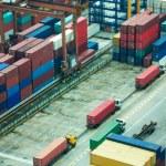 Line of trucks in port — Stock Photo