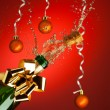 Popping cork from Champaign bottle — Stock Photo