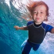 Funny little boy underwater — Stock Photo