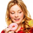 Girl with two donuts — Stock Photo