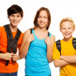 Stock Photo: Three kids with school backpacks