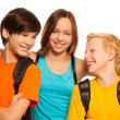 Royalty-Free Stock Photo: Teen girl hugging her two friends