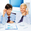 Two smart kids in the office — Stock Photo