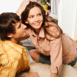Wife and husband happy laying on the floor — Stock Photo