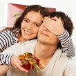 Present for him on the lovers day — Stock Photo