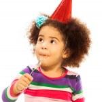Kid eating birthday cake — Stock Photo