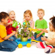 Kids and plant — Stock Photo