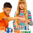Stock Photo: Couple kids in science lab