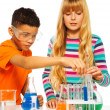 Couple kids in science lab — Stock Photo