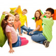 Five kids in pillow fight — Stock Photo
