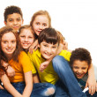 Group of hugging and laughing kids — Stock Photo