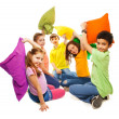 Fighting with pillows, so much fun — Stock Photo