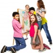 Diverse kids painting — Stock Photo