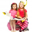 Two little girls ready for vacation — Foto de Stock