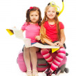 Two little girls ready for vacation — Stock Photo