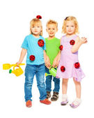 Children with their toys on white background — Stock Photo