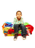 Cute boy with basket of clothes — Stock Photo