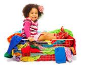 Black girl in fashion basket — Stock Photo