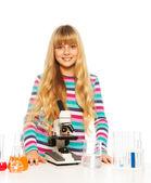 Blond smart teen flicka — Stockfoto