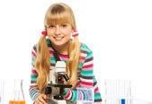 Blond clever teen schoolgirl — Stock Photo