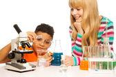 Kids in the school lab — Stock Photo