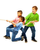 Boys team pulling the rope — Stock Photo