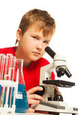 Cute boy in the lab — Stock Photo