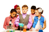 Learning chemistry is serious but fun — Stockfoto