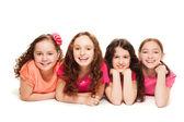 Four happy girls friends — Stock Photo