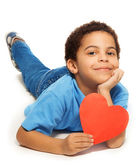Cute five years old boy with heart — Stock Photo