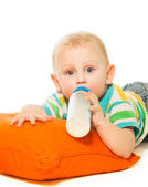 Toddler drinking formula — Stock Photo