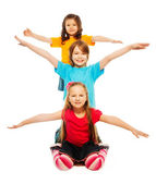 Happy kids waiving hands — Stock Photo