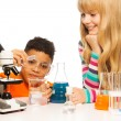 Kids in the school lab — Stock Photo