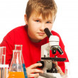 Cute Caucasian boy in lab - Stock Photo