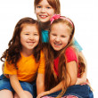 Stock Photo: Three little happy kids
